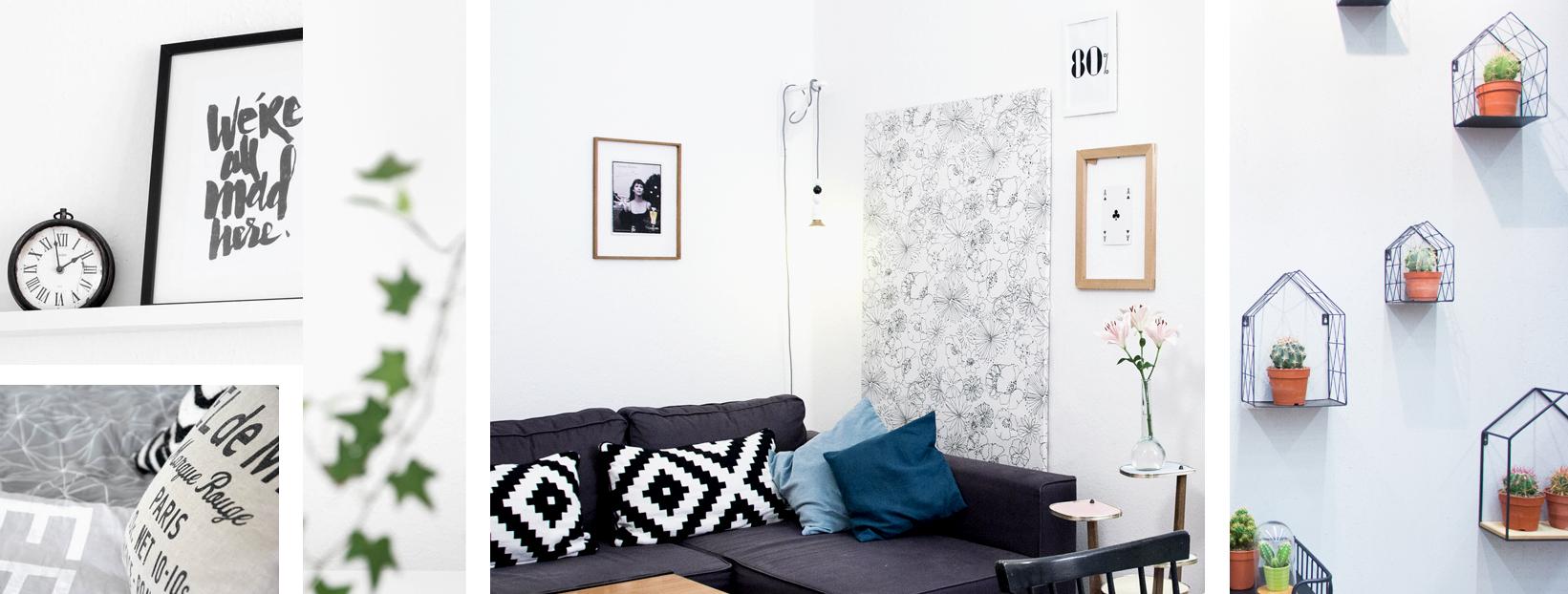 drei Ausschnitte aus einer Wohnung mit Sofa und Bildern an den weißen Wänden