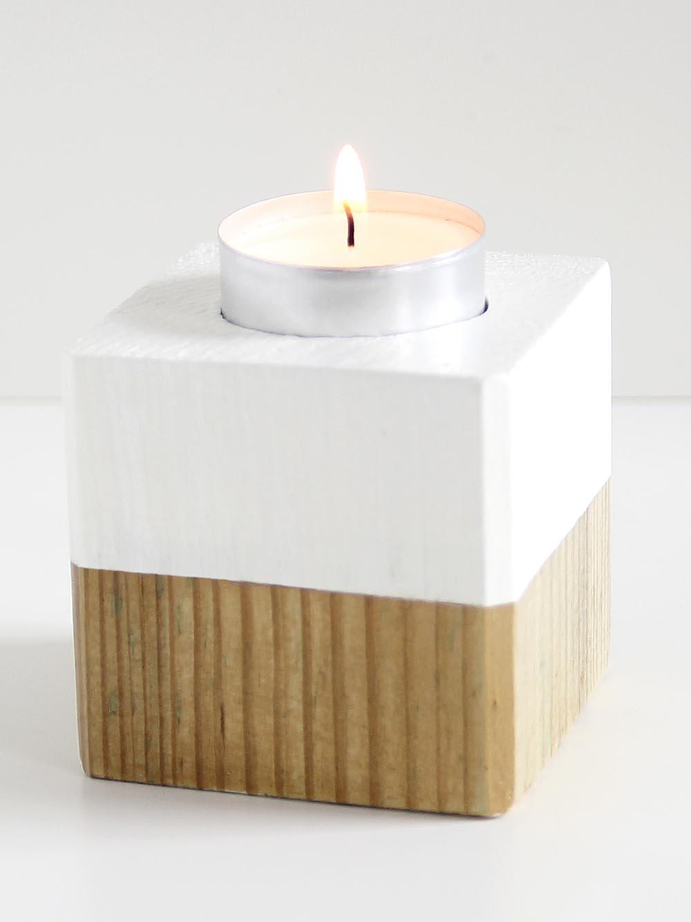 Der fertige Kerzenwürfel mit Teelicht
