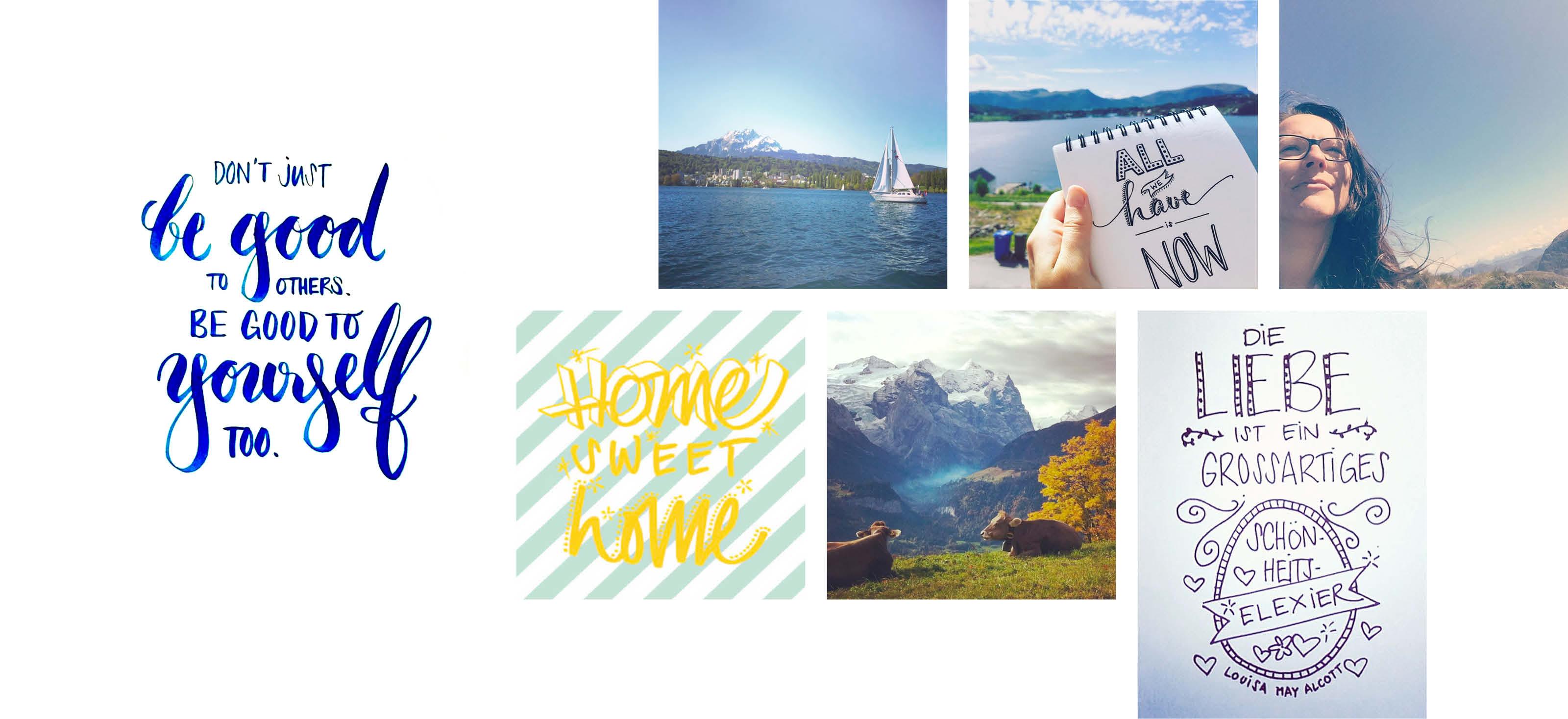 Beispiele von Bildern und schöngeschriebenen Texten von Romanas Social Media Profilen