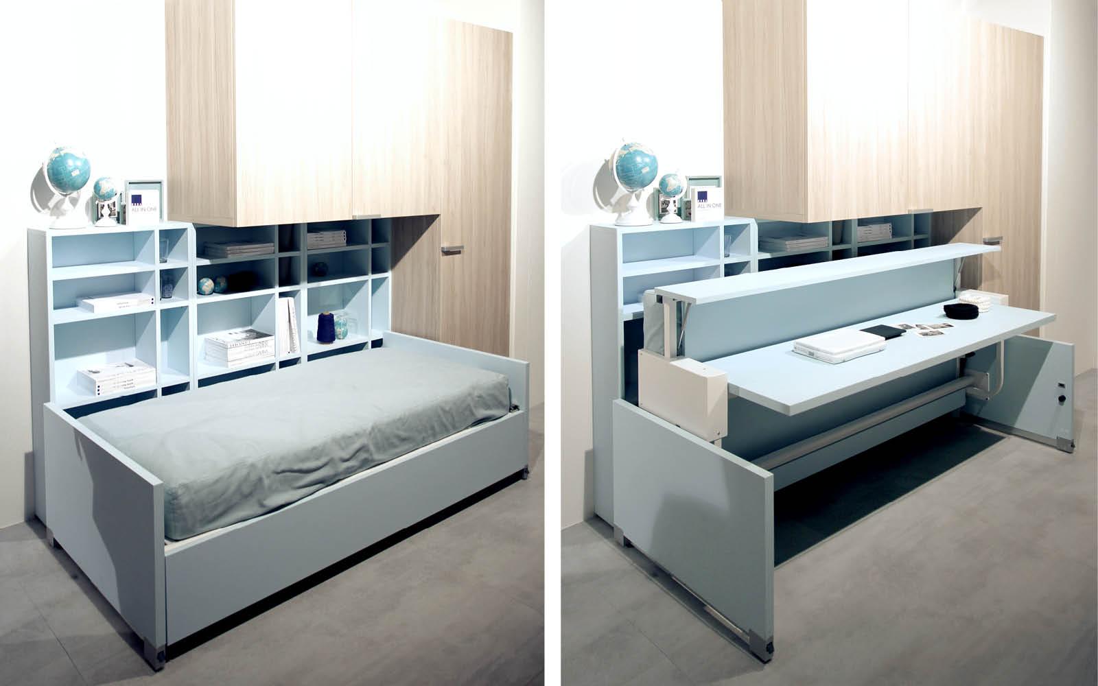 Multifunktionale Möbel werden vom Bett zum Schreibtisch