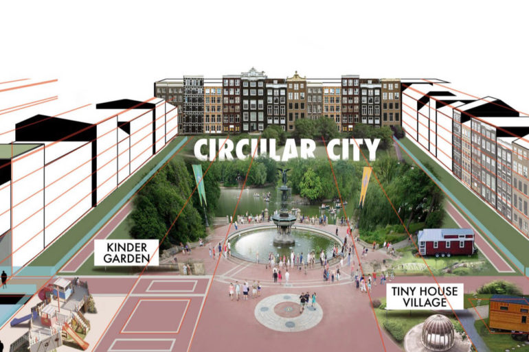 "Illustration der Stadtutopie ""Circular City"" mit Altbauten, Neubauten, Tiny Houses und Gärten"