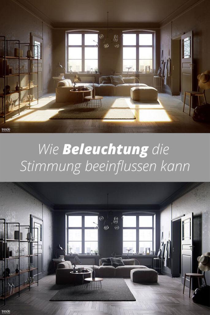 Ein auf verschiedene Arten beleuchtetes Wohnzimmer zeigt, wie Beleuchtung die Stimmung beeinflussen kann.