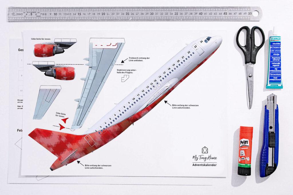 Zutaten für Flugzeug Adventskalender